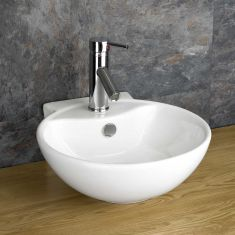 Counter Mounted Round White Bathroom Washbasin 400mm x 430mm UDINE