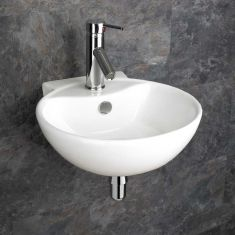Wall Mounted White Round Modern Bathroom Sink 400mm x 430mm UDINE