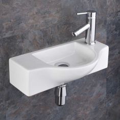 Narrow Slimline Wall Hung Cloakroom Hand Basin 440mm x 245mm VITERBO
