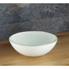 Large Above Counter White Glass Round Bathroom Bowl 420mm SAVONA