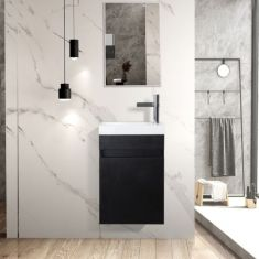 Narrow Black Wall Hung Cloakroom Vanity 400mm x 220mm with Tap and Waste JASS
