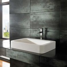 Rectangle Large Stone Resin White Countertop Basin 600mm x 415mm KOLE