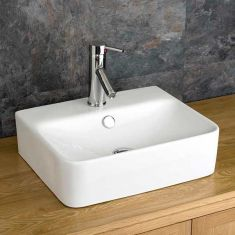 Medium Size Rectangle White Bathroom Counter Sink 440mm x 360mm LATINA