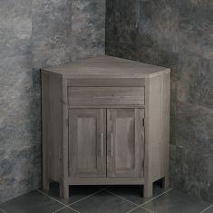 Large Bathroom Grey Wash Solid Oak Corner Bathroom Vanity Cabinet ALTALG