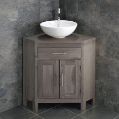 Large Bathroom Grey Wash Solid Oak Corner Bathroom Vanity Cabinet + Round Basin Set ALTALG