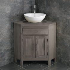 Large Bathroom Grey Wash Solid Oak Corner Bathroom Vanity Cabinet + Oval Basin Set ALTALG