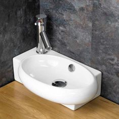 £39 VALUE RANGE Narrow Countertop Cloakroom Left Hand Basin | Free Delivery | LECCE L