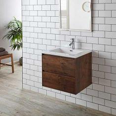 Rectangle Basin Set on Wall Hung Vanity Storage Unit 600mm Rosewood LENO