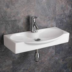 Modern Large Wall Hung Shallow Bathroom Basin 690mm x 340mm LIVORNO
