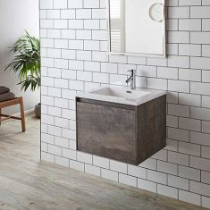 Wall Hung Stone Ash Grey Vanity Cabinet Basin Set 2 Drawer 600mm LOFT
