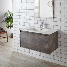 Large Wall Hung Stone Ash Grey Vanity Cabinet Basin Set 900mm LOFT