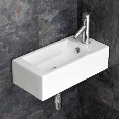 Wall Hanging Slim Cloakroom White Right Hand Basin 500mm x 255mm LUCCA