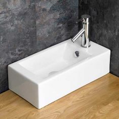 Above Counter Slim Cloakroom White Right Hand Basin 500mm x 255mm LUCCA