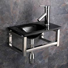 Compact Black Glass Wall Hung Cloakroom Sink Set 400mm x 250mm MATERA