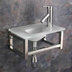 Narrow White Glass Wall Hung Cloakroom Sink Set 400mm x 250mm MATERA
