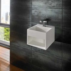 Wall Mounted White Stone Resin Basin With Storage Shelf 330mm MEXA
