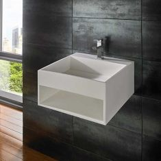 Large White Stone Resin Wall Hung Basin With Storage Shelf 500mm MEXA