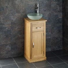 Small Oak Bathroom Vanity Cabinet + Round Frosted Glass Basin Set CUBE37