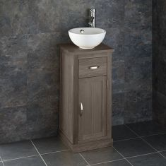 Solid Oak Small Vanity Bathroom Unit + Round White Basin Set CUBE37