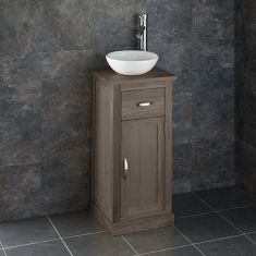 Oak Cloakroom Vanity Cabinet + Small Round Bathroom Bowl Set CUBE37
