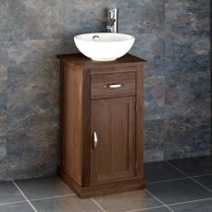 Small 370mm Solid Oak Small Vanity Cabinet + Round White Basin Set CUBE37