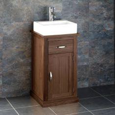 Small Bathroom or Cloakroom Oak Storage Unit + Small Rectangular Basin Set CUBE37