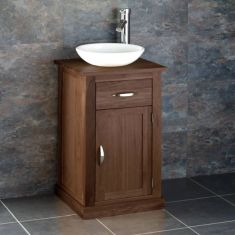 Solid oak Cube storage unit with small round bowl set CUBE37