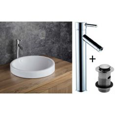 Round Self Rimming Bathroom Basin with Tap and Waste Bundle Ceramic 460mm Diameter Sink Muro