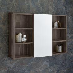 800mm Wide Solid Oak Wall Mounted Single Door Bathroom Mirror Cabinet With Side Shelves