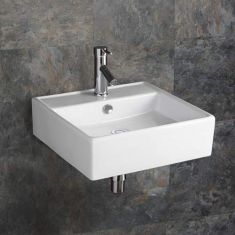 Large Square Wall Hung Bathroom Basin in White Ceramic 460mm Square Sink Napoli