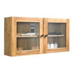 Wall Solid Oak Bathroom Wall Hung Glass Storage Cabinet  Large 750mm x 380mm