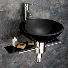 420mm Round Black Glass Padova Bathroom Wash Basin With Wall Mounted Stainless Shelf Set