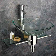 Padova 420mm Square Clear Glass Wall Hung Modern Bathroom Sink with Stainless Mount and Tap