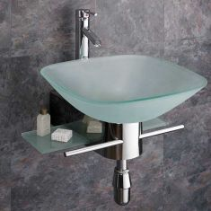 420mm Square Padova Frosted Glass Wall Mounted Sink with Steel Mount + Tap