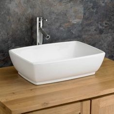 Large White Rectangular Bathroom Countertop Basin 480mm x 350mm PALERMO