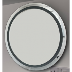 Large Wall Hung  Round Mirror 53cm Diameter with a Feature Frosted Dark Glass Inlay
