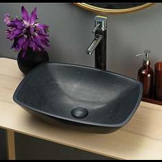 Black Limestone Curved Rectangle Countertop Bathroom Basin  450mm x 320mm Atessa