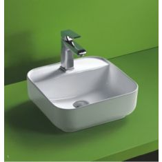 Countertop Bathroom Basin | Curved Square White Ceramic Sink | 390mm | Ponsa