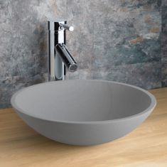 Round Countertop Basin in Matte Light Grey Sandstone 400mm Diameter Bathroom Sink Portici