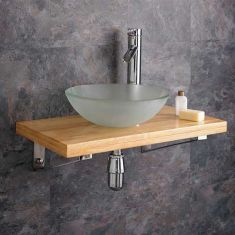 Bathroom Wood Wall Hung Shelf + 310mm Frosted Glass Round Bowl POTENZA