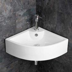 Corner Wall Mounted Large White Ceramic Bathroom Sink 660mm PRATO