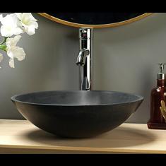 Counter Mounted Round Cream Galala Stone Bathroom Sink 400mm PORTICI
