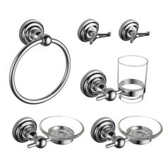 Bathroom Accessories Set | Robe Hooks Toothbrush Holder Soap Dishes Towel Ring | High Quality