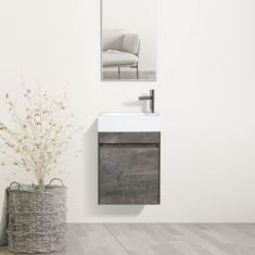 Stone Grey Wall Hung Bathroom Vanity Cabinet with Tap and Waste 460mm x 260mm RIVO