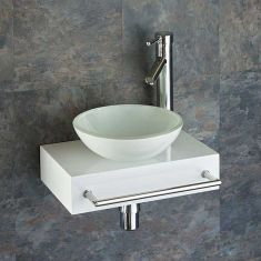 Slim White Wooden Shelf + White Glass Basin Set 400mm x 250mm TOULON