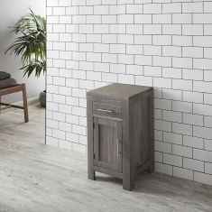 450mm Square Cloakroom GREY WASH Solid Oak Vanity Storage Cabinet ALTA45G