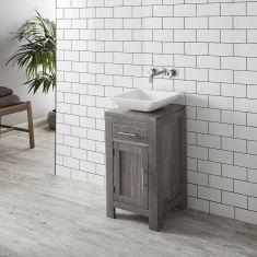 GREY WASH Bathroom Solid Oak Vanity + Matt Square Agio Basin + Wall Tap Set ALTA45G