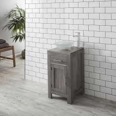 DUE MID MARCH 2019 GREY WASH Oak 450mm Square Bathroom Vanity + Frosted Glass Square Bowl Set ALTA45G