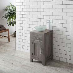 Solid Oak Bathroom GREY WASH Oak 450mm Square Vanity + Frosted Glass Square Bowl Set ALTA45G