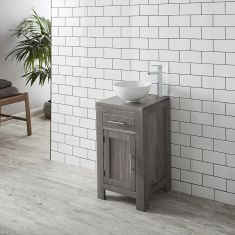 GREY WASH Solid Oak 450mm Square Bathroom Vanity + Round White Bowl Set ALTA45G